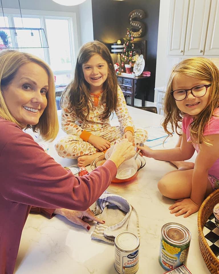 Lori Allen baking with her granddaughters at home in Atlanta, GA