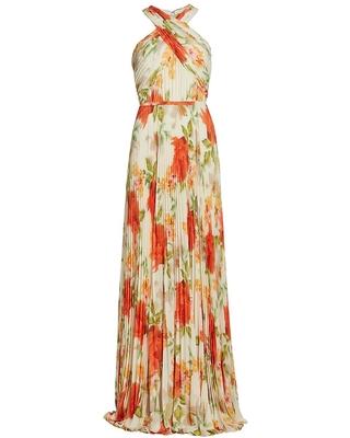 Monique Lhuillier womens floral print pleated chiffon maxi dress