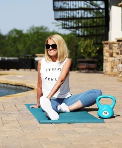 Lori Allen exercises at home