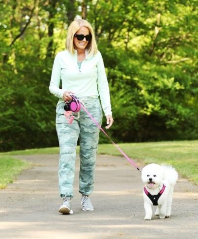 Lori Allen walking with Chloe near her home in Atlanta, GA